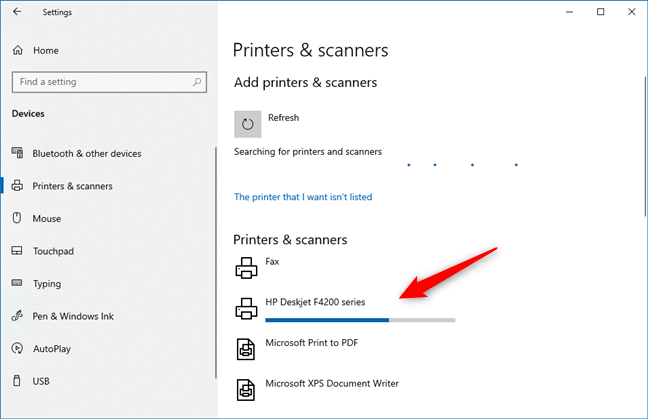 A printer is installing in Windows 10