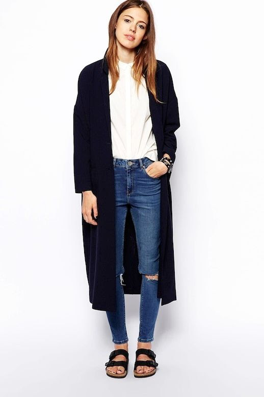 Le Fashion Blog -- Fall Go-To Look: Long Jacket, White Button-Down Shirt, Ripped Jeans and Birkenstocks -- photo Le-Fashion-Blog-Fall-Go-To-Look-Long-Jacket-White-Button-Down-Shirt-Ripped-Jeans-Birkenstocks.jpg