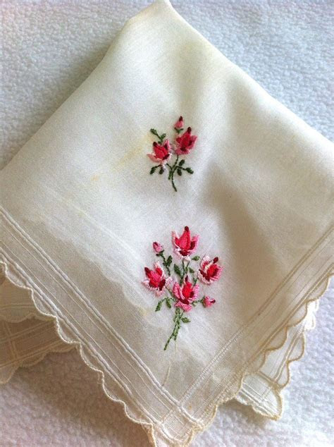 Brides Handkerchief, Vintage , Hankie, Something Old, Rose