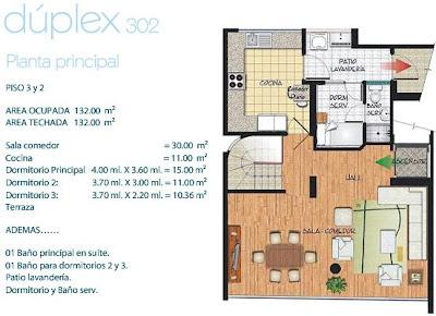Planos de departamento duplex de 132m2 planos de casas for Planos de departamentos de 40m2