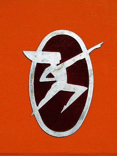 The logo off the Hiawatha line Cedar Rapids car