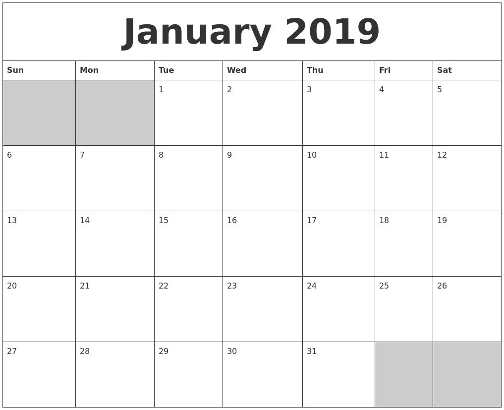 january 2019 blank printable calendar