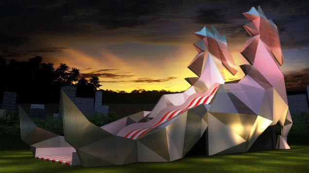 Projeção de cavalo-tobogã de 20 metros de altura que será instalado no Brahma Valley; evento terá tirolesa e roda gigante