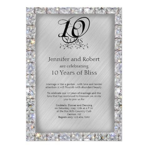 10th Tin and Diamond Wedding Anniversary Announcements