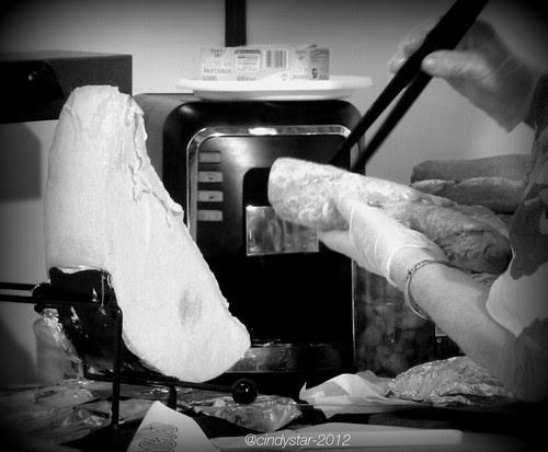 making raclette sandwich