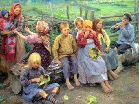 Children With Sunflowers