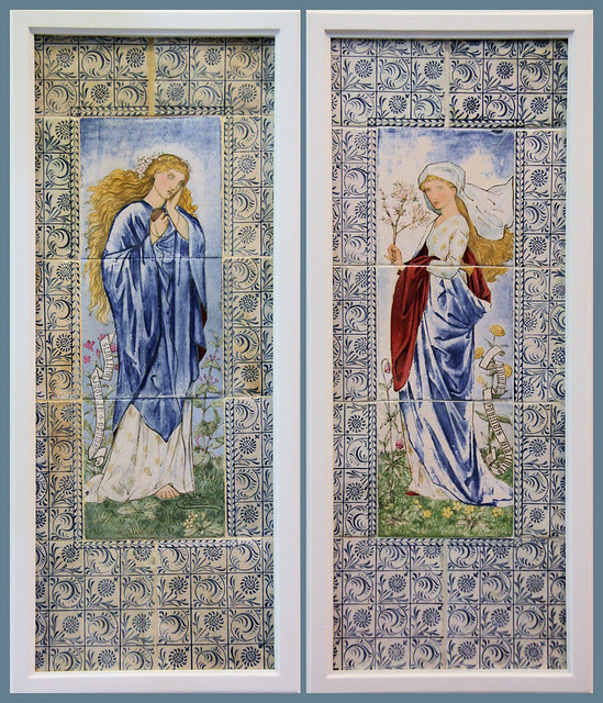 """Ariadne and Phyllis from Chaucer's """"The Legend of Good Women"""" - designed by Burne-Jones and William Morris, 1870"""