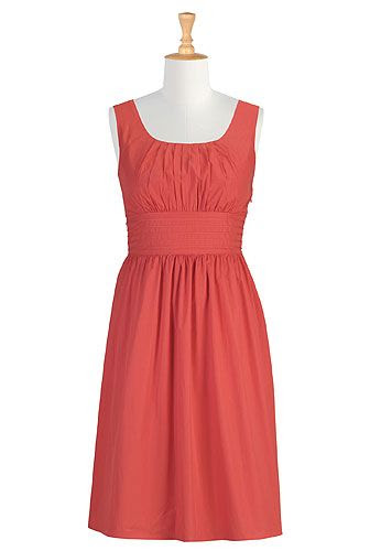eShakti Banded Waist Poplin Dress