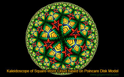Kaleidoscope of Square Word Cloud based on Poincare Disk Model.