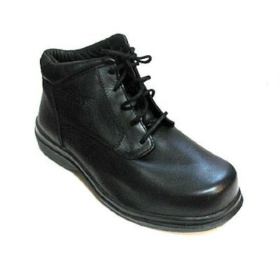 Men's Red Wings Safety Chuka Work Shoes Black Leather (8 h/ 8 4E)