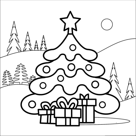 Christmas Tree Coloring Pages Coloring And Drawing