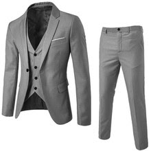 Men's Suit Slim 3-Piece Suit Blazer Business Wedding Party