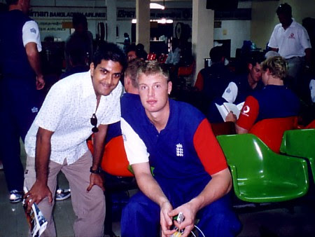 Tawhid Qureshi (left) and Andrew 'Freddie' Flintoff at the airport in Bangladesh