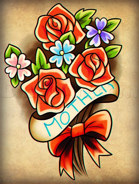 draw mothers day flowers step  step flowers