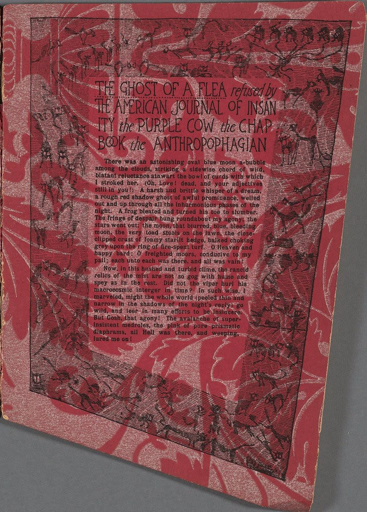 typed story (the ghost of a flea) with border on red-patterned paper
