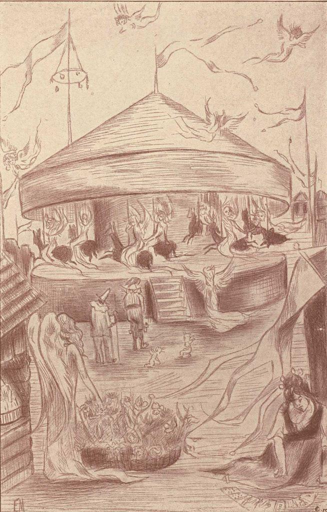 """Deuxième dessin hors texte d'Étienne Morannes (Claire Demolder-Rops) en tête du chapitre XIII """"Une kermesse au ciel"""""""
