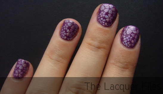 OPI Pamplona Purple stamped with Bundle Monster Plate 16 and Nfu.Oh #64