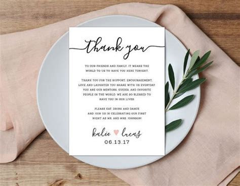 Reception Place Setting Card, Wedding Thank You Card