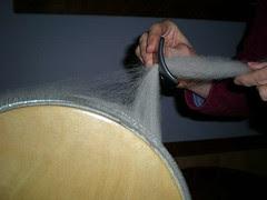 6 ~ Pull fiber through the diz