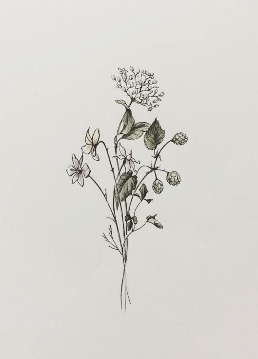 Nice Grey Flowers Tattoo Design