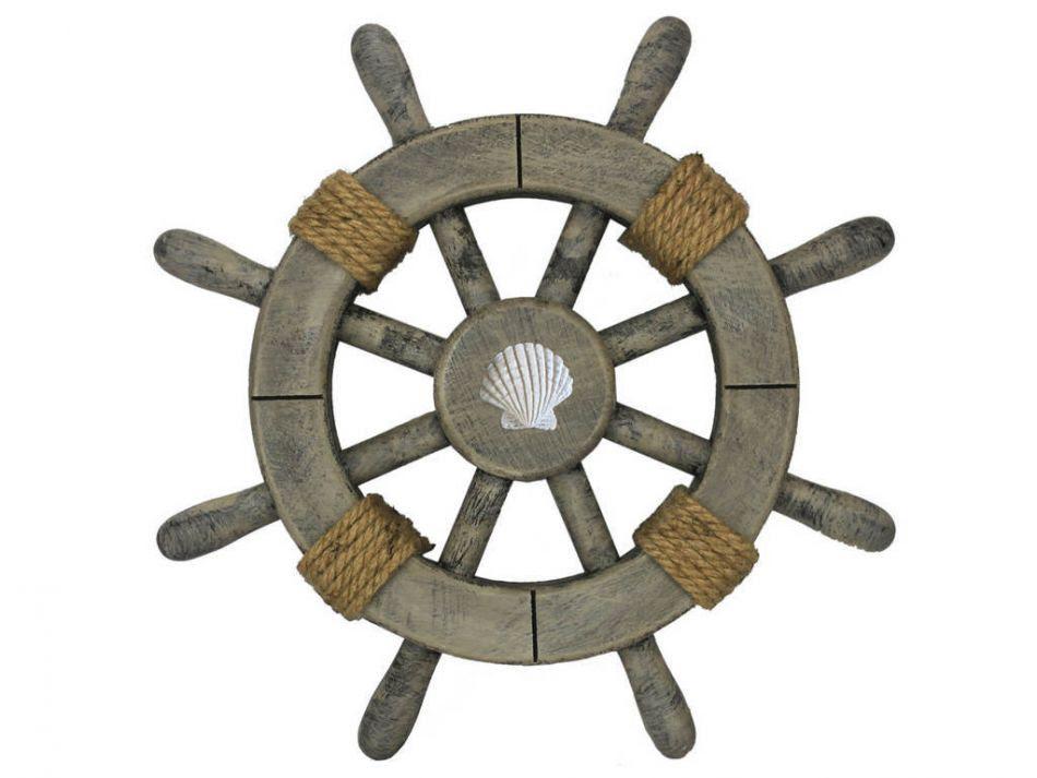 Buy Rustic Decorative Ship Wheel With Seashell 12 Inch - Nautical