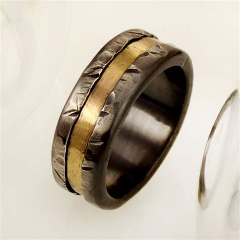 Mens Gold And Silver Wedding Band, Mens Engagement Ring