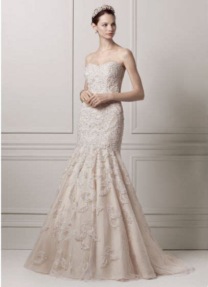 Strapless Trumpet All Over Lace and Beaded Gown   Davids