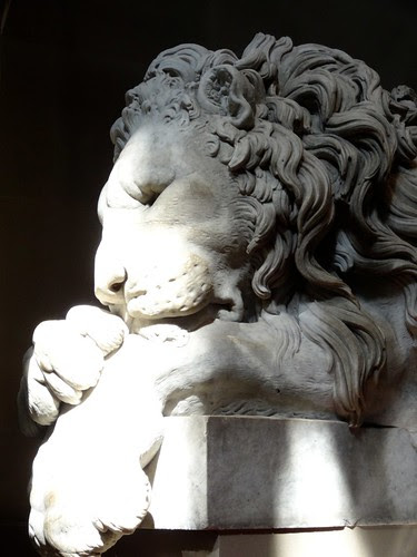 Sleeping Lion Statue at Chatsworth