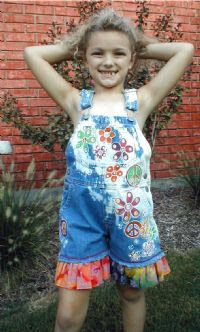 Hand painted Peace Daisies Overalls