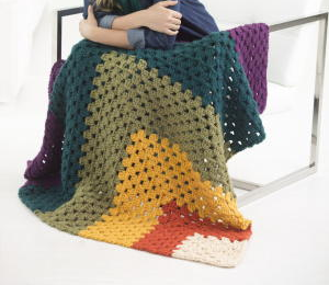 Classy & Colorful Granny Square Afghan