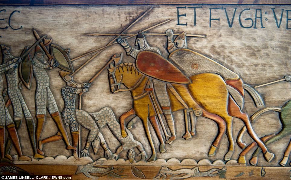 A slice of history: The original Bayeux Tapestry depicts the Battle of Hastings in 1066 and is actually created from a piece of embroided cloth, not wood