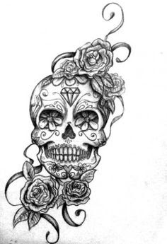 Sugar Skull And Rose Tattoo Design
