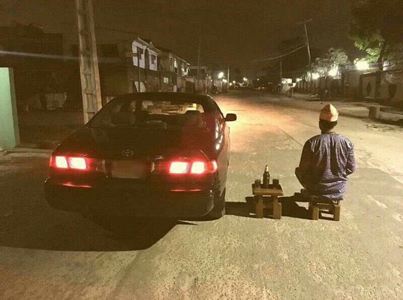 Another Nigerian Man Relaxes With His Car In The Middle Of Highway (Pic)