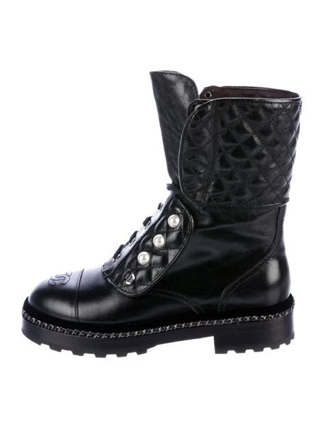 chanel  cc combat boots shoes cha  realreal