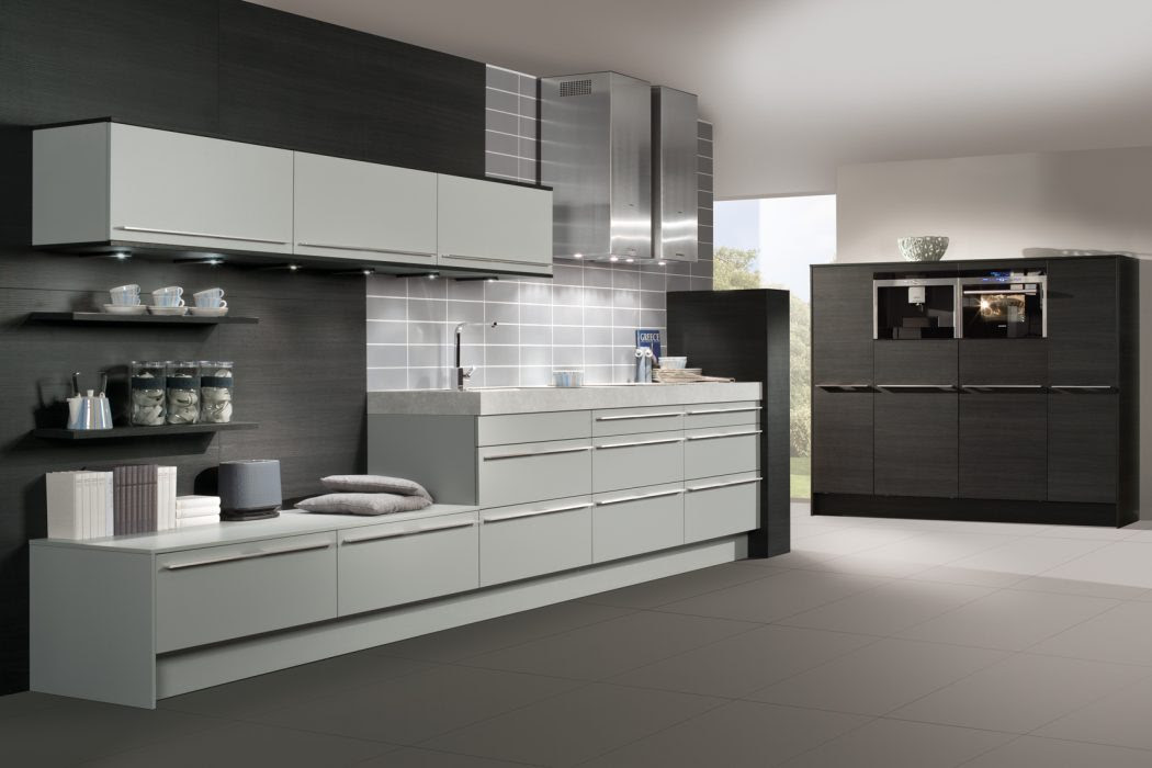 Black and Grey Walls with White Appliances Kitchen Cabinets