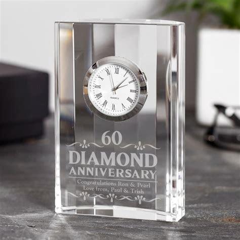 Engraved Diamond Wedding Anniversary Mantel Clock   The