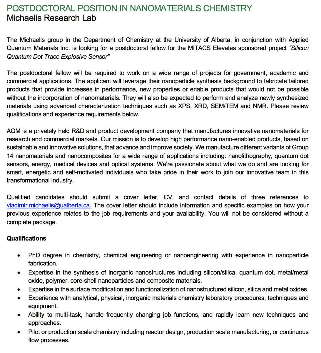 Chemistry Postdoc Cover Letter, Test Twitter Media Pdf Position Available In The Michaelis Lab At The University Of Alberta, Chemistry Postdoc Cover Letter