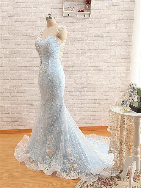 Mermaid Light Blue Wedding Dresses Lace Overlay Sheer
