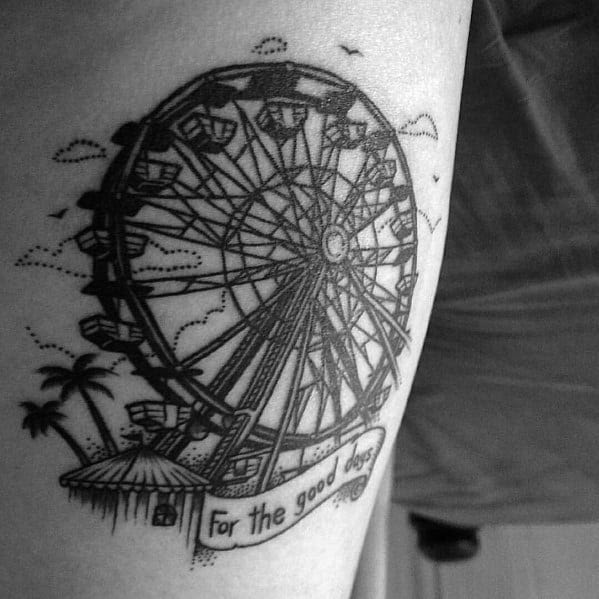 50 Ferris Wheel Tattoo Ideas For Men Amusement Ride Designs