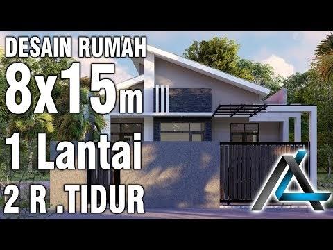viral desain rumah 8x15 meter 1 lantai 2 ruang tidur atap