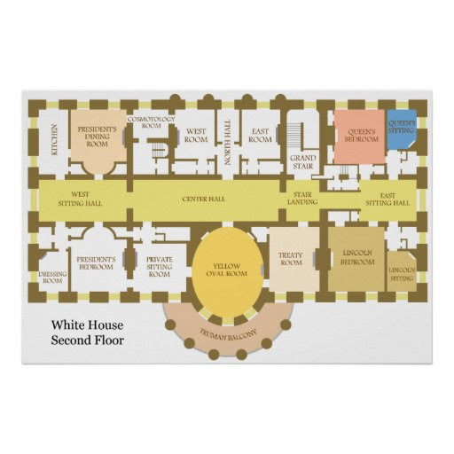Diagram of the Second Floor of the White House Poster Zazzle