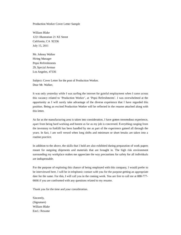 Production Manager Cover Letter Examples Sample Cover Letter