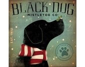 Black Dog Mistletoe Company original graphic illustration collage on canvas winter holiday art