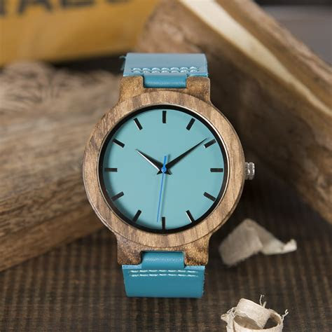 mens blue face wooden   genuine leather strap