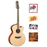 Yamaha CPX700-12 12-String Cutaway Acoustic-Electric Guitar Bundle with Instructional DVD, Strings, Pick Card,...