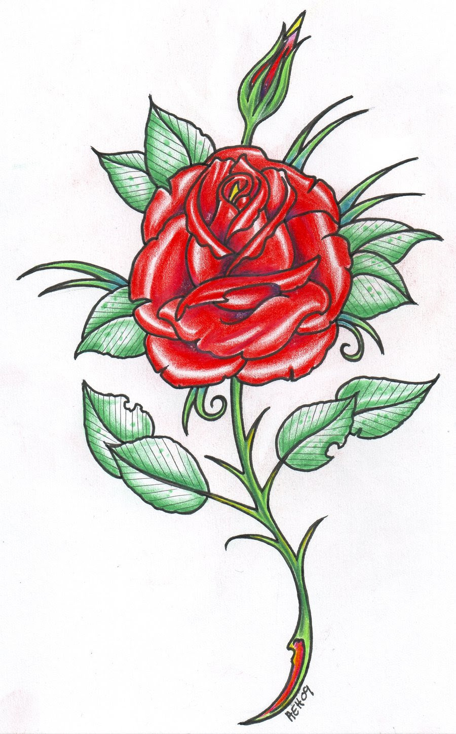 Rose With Stem Drawing At Getdrawingscom Free For Personal Use
