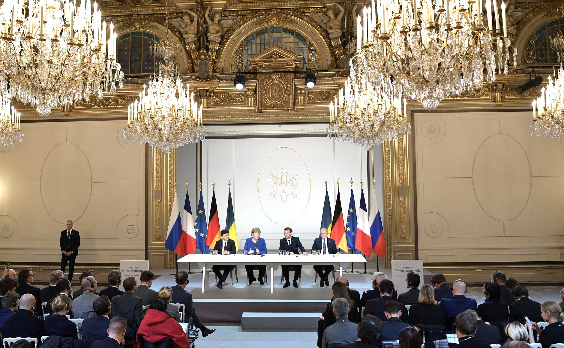 Joint news conference following the Normandy format summit.