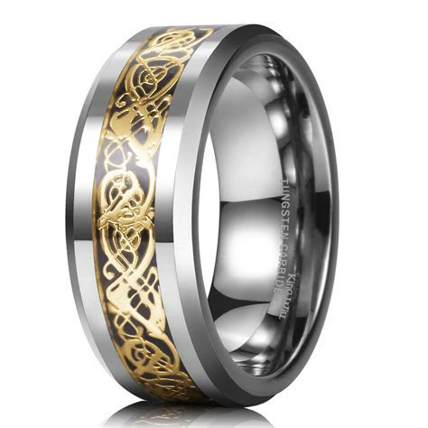 8mm Tungsten Carbide Celtic Dragon Gold Inlay Flat Comfort