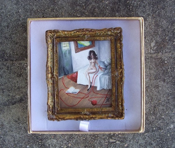 Miniature Original Painting  NOT A PRINT Mini Artwork Oil with Gold Frame