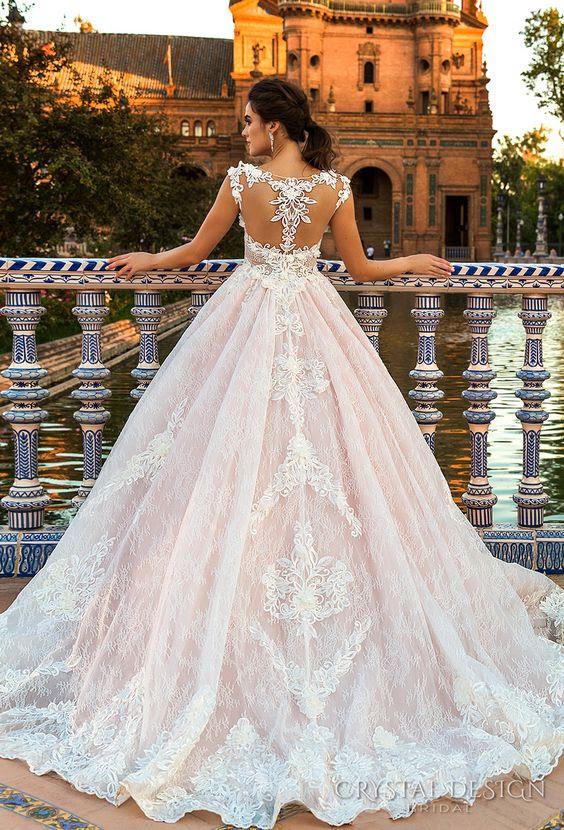 blush Hochzeit Ballkleid mit lace racerback und einem Spitzen-Rock